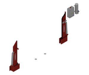 Automatische Löschwasserbarriere Beidseitig Vertikal Drehbar offen
